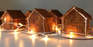 Gingerbread houses with lights